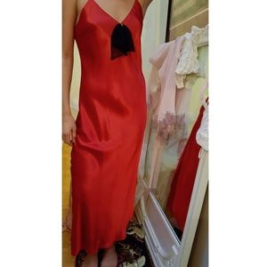 Vintage - Red Slip Nightgown with Chiffon Bow